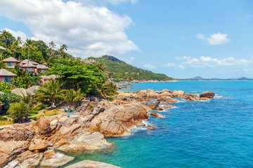 Beautiful views of the coast of Koh Samui in Thailand.