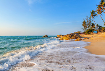 Sunrise on Lamai Beach on Koh Samui in Thailand.