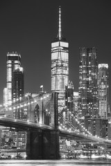 Brooklyn Bridge and Manhattan at night, New York City, USA..