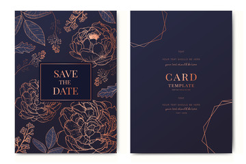 Wedding Invitation, floral invite thank you, rsvp modern card Design in Copper peony with  tropical palm leaf eucalyptus branches in Navy blue background