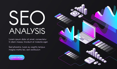 SEO analysis vector illustration of search engine optimization in digital marketing. Ultraviolet purple diagrams and flowcharts for user requests in internet and computer network