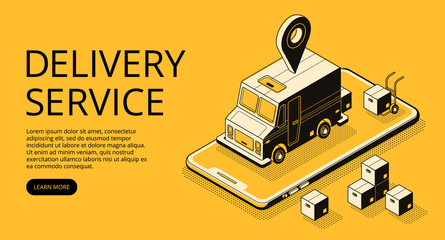 Delivery service vector illustration of loader truck and parcel boxes at warehouse. Logistics and transport technology thin line art and isometric black halftone design on yellow background