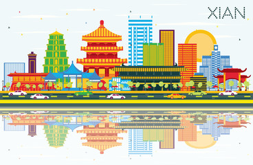 Xian China Skyline with Color Buildings, Blue Sky and Reflections.