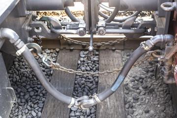 part of locomotive. old train