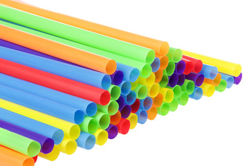 many colorful plastic straws with opening forward isolated on white background. San Francisco's board of supervisors voted unanimously to join cities such as Vancouver, Berkeley and Seattle in banning