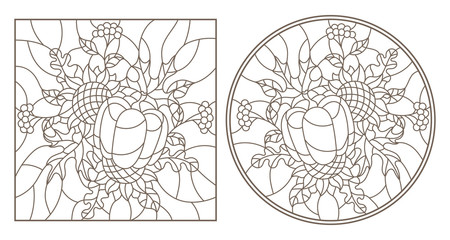 A set of contour illustrations of stained glass with compositions of leaves , flowers and pumkin ,dark contours on a white background, round and rectangular image