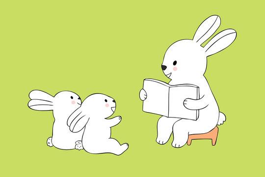Cartoon cute teacher rabbit and students rabbits reading a book vector.