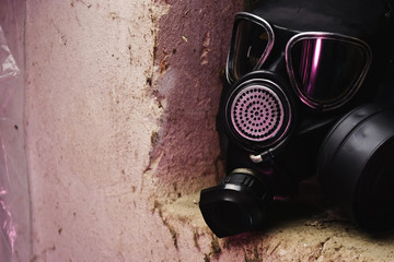 Black gas mask  on a beautiful background.