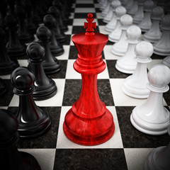 Red chess king standing between white and black pawns. 3D illustration