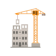 Panel house construction with crane, residential house building process vector Illustration on a white background