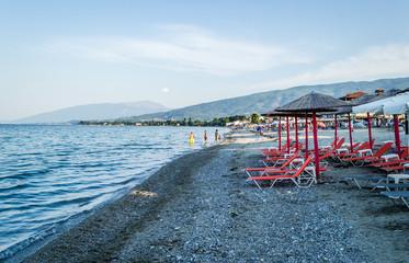 Leptokarya, Greece - June 10, 2018: Beach at sea in Leptokarya, Greece