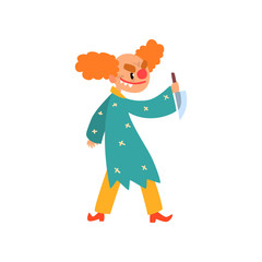 Angry red haired clown cartoon character, halloween clown with evil eyes holding knife vector Illustration on a white background