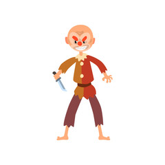 Angry clown cartoon character, halloween clown with evil eyes holding knife vector Illustration on a white background