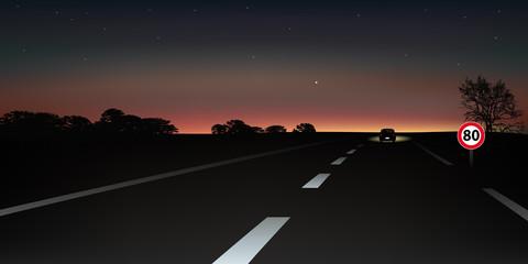 conduite - nocturne - nuit - limitation de vitesse - accident de la route - conduire - 80 km/h
