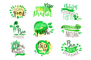 Organic Farm Food Promo Signs Colorful Set