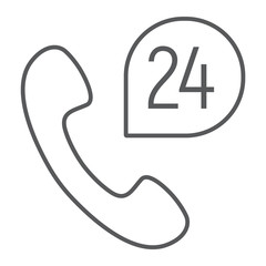Call 24 thin line icon, support and all day, button sign, vector graphics, a linear pattern on a white background, eps 10.