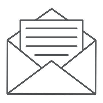 Open mail thin line icon, envelope and letter, email sign, vector graphics, a linear pattern on a white background, eps 10.