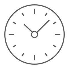 Time thin line icon, clock and minute, hour sign, vector graphics, a linear pattern on a white background, eps 10.