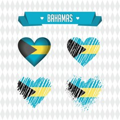 Bahamas. Collection of four vector hearts with flag. Heart silhouette