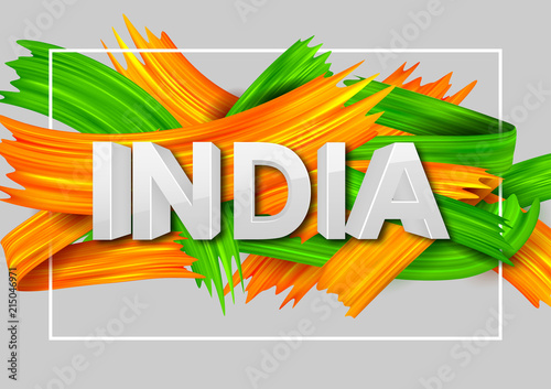Acrylic brush stroke Tricolor banner with Indian flag for 15th