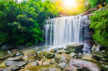 Printed roller blinds Waterfalls Tung Na Muang waterfall, The beautiful waterfall in deep forest during raining season at Tung Na Muang Park, Ubon Ratchathani province, Thailand.