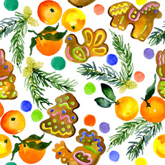 Ritual, traditional, festive, Easter, fruity pattern. Seamless, isolated wallpaper. Delicious biscuit, fragrant biscuits, juicy gingerbreads, fresh mandarin fruit. Watercolor. Illustration