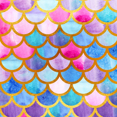 Mermaid scales. Watercolor fish scales. Bright summer pattern with reptilian scales. Gold background.