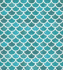 Mermaid scales. Glitter fish scales. Bright summer pattern with reptilian scales.