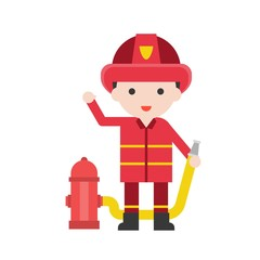 Firefighter man, Set Profession character of people in uniform, flat design