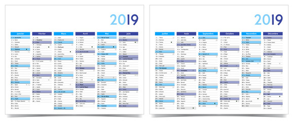 Calendrier 2019 recto/verso / Police : Lucida Grande / avec lunes, jours fériées, fêtes, numéro semaines, changement d'heure