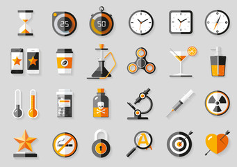 Icons set in flat style. Twenty four different objects on gray background. Vector design elements for you business projects