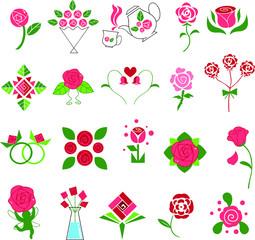 花 バラ アイコン ピンクセット