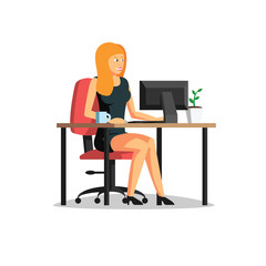 Beautiful business woman working on computer vector illustration. Woman working at able in business office. Business people vector art.