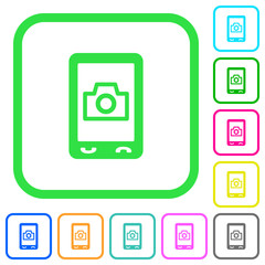 Mobile photography vivid colored flat icons