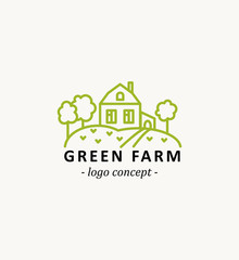 Green farm. Agricultural logo concept in linear style.