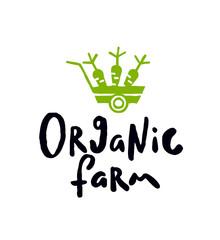 Organic farm. Lettering inscription.
