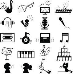 音楽 音符 記号 素材 白黒 セット