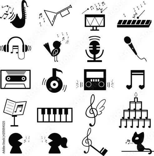 音楽 音符 記号 素材 白黒 セットfotoliacom の ストック画像と