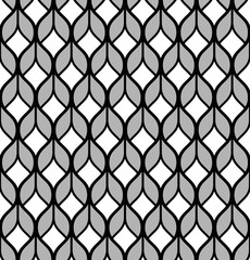 The geometric pattern with wavy lines. Seamless background. Black and white texture