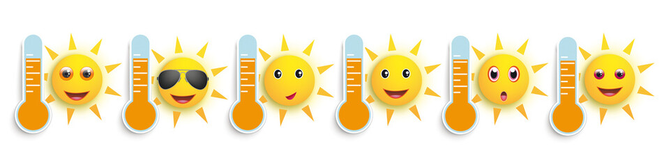 Funny Sun Face Smileys Weather Icons Header
