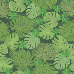 Seamless pattern of tropical leaves background. Vector set of exotic tropical garden for holiday invitations, greeting card and fashion design.