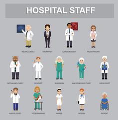 Hospital Staff Cartoon Characters Cartoon Vector Illustration
