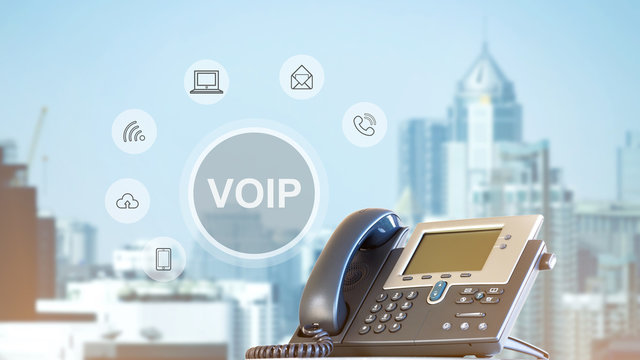VOIP phone on city background