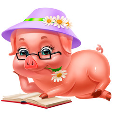 cute pink piglet in hat reading a book, isolated on white