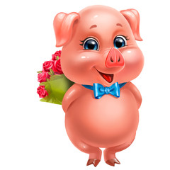 cute pink pig with a bouquet of roses, isolated on white