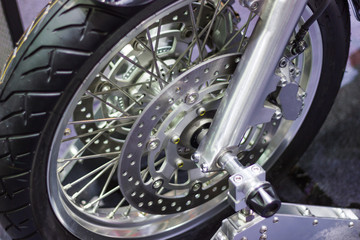 close up - Detail Motorcycle brake disc is part of the motorcycle.