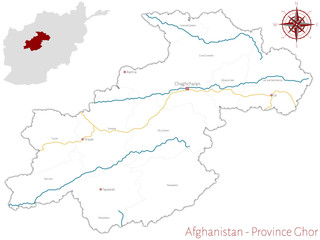 Large and detailed map of the afghan province of Ghor.