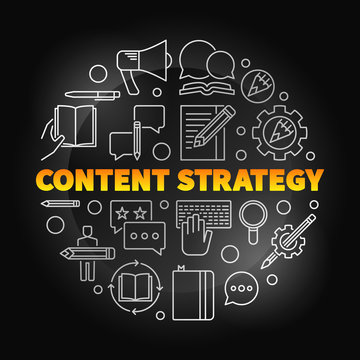 Content Strategy round vector colored linear illustration