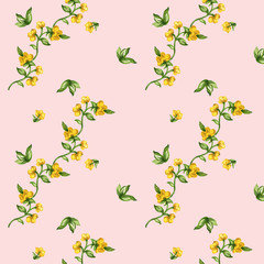 Watercolor seamless botanical leaves pattern