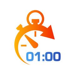 Icono plano cronometro con 0100 en azul y naranja